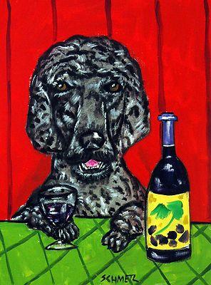 BLACK POODLE AT THE WINE BAR dog art Mug gift 11 oz