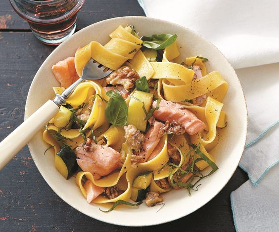 Pappardelle with Salmon Zucchini and Walnuts