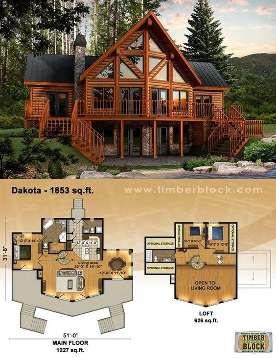 Log house plans is creative inspiration for us get more for Log cabin open floor plans