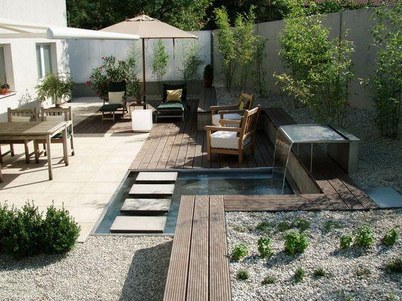 Kleine Gärten Gartenplanung Pinterest Kleine gärten, Gärten - terrassengestaltung mit wasserbecken