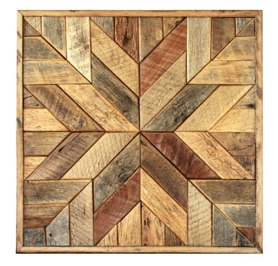 Reclaimed wood quilt square – 36 inch - Geometric wall art ...