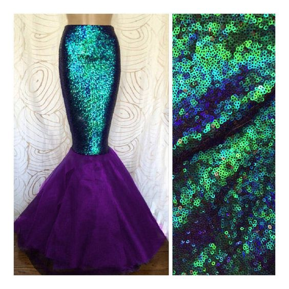 Purple & Green Sexy Sequin Mermaid Tail Skirt Costume S M L XL Adult Womens in Clothing, Shoes & Accessories, Costumes, Reenactment, Theater, Costumes | eBay: