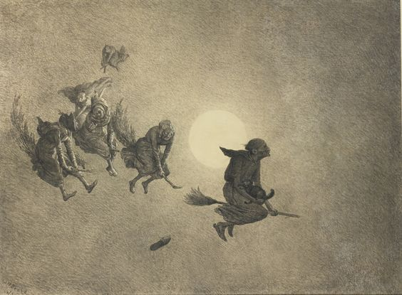 William Holbrook Beard (American, 1824-1900). The Witch's Ride, 1870. Charcoal on paper: