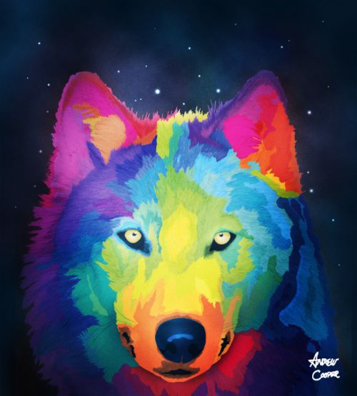 My Rainbow Wolf I Painted In Art!