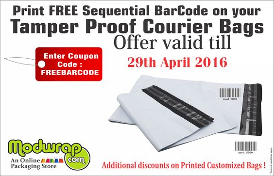 Print FREE Sequential BarCode on your Tamper Proof Courier bags. Use Coupon Code: FREEBARCODE. Visit: http://modwrap.com/security-tamper-evident-courier-bags