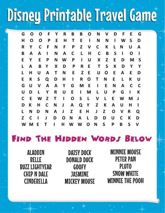 Free Disney printable travel games for kids