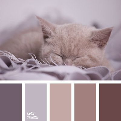 The combination of muted and velvety lilac-brown hues. Soft blankets, sweaters, shawls, wraps and scarves, as well as bath towels and bathrobes in such colors will seem more warm, cozy and peaceful. Images of sleeping small animals made in this palette perfectly complement the interior of the bedroom.