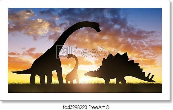Free Art Print Of Dinosaurs In The Sunset Free Art Prints Art