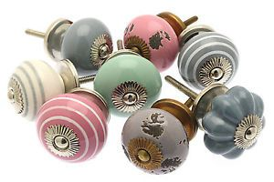 8-x-Shabby-Chic-Mixed-Pastels-Ceramic-Cupboard-Knobs-Drawer-Kitchen-MG-214D