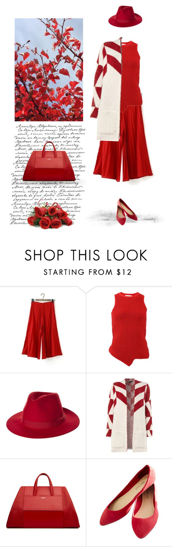 """Red fall"" by soofiia ❤ liked on Polyvore featuring Jonathan Simkhai, Brixton, Maje and Wet Seal"