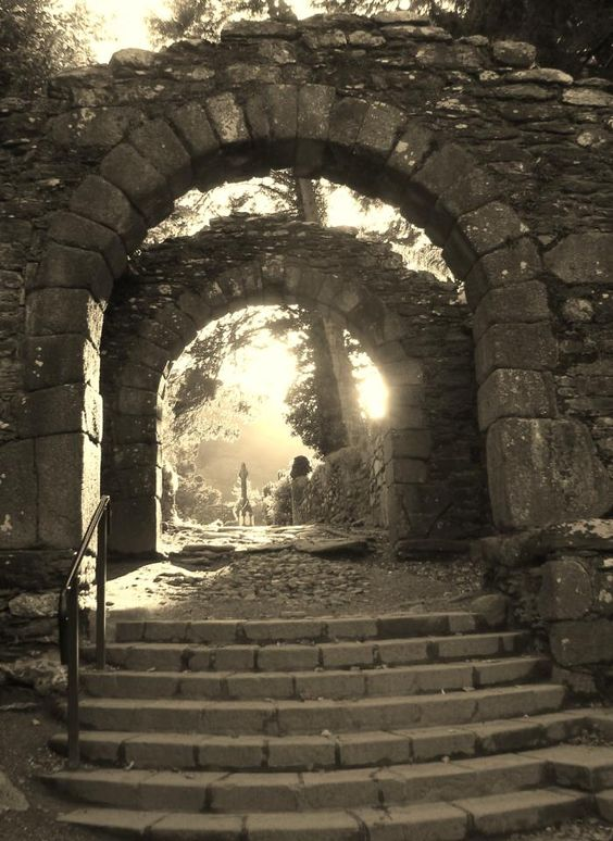 FB page - Ireland Travels/Jude Henderson Creative Edge ♥ the arch way entrance in to the Glendalogh Monastery, August 2012, late in the evening-not a lot of people with cameras...lovely photo August 2012,late in the evening ♥