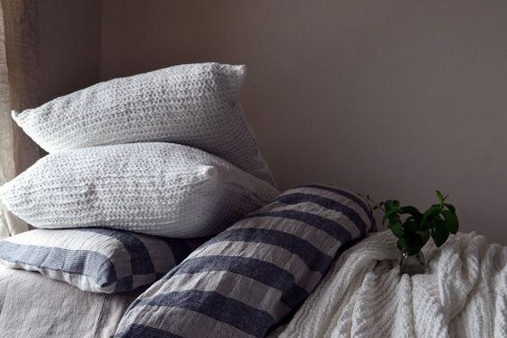 Ivory waffle textured natural linen pillow by HouseOfBalticLinen