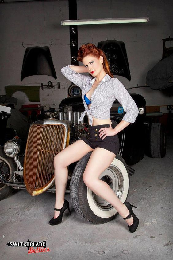 IG GIRL SATURDAY On Pinupgram Hot Rod Red, Shelby Bordeau
