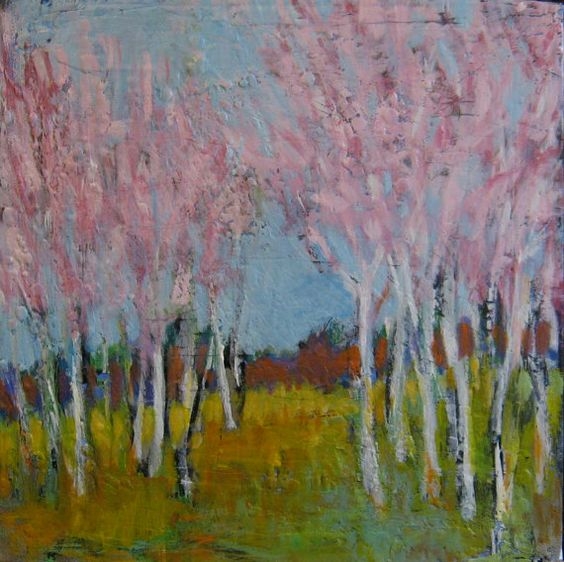 Birch Grove Then  Original Painting by TheQuirkyArtisan on Etsy, $65.00