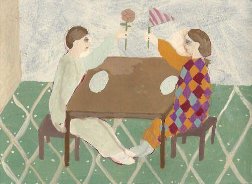 """Party"" by shohei morimoto, acrylic gouache, paper 45 x 70 mm 2012"
