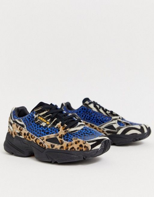 adidas Originals Falcon trainers in contrast leopard prints