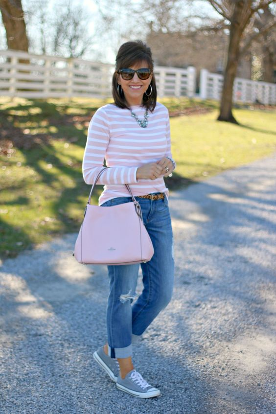 pale pink and white stripe long sleeve top, destructed faded boyfriend jeans, skinny leopard belt, grey Converse sneakers