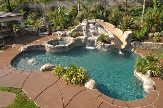 Pool with rock slide pools pinterest pools rocks for Rock pool designs