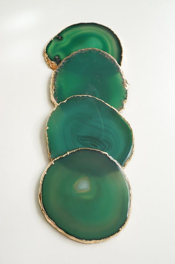 GREEN agate coasters. emerald geode coasters. gem coasters. SILVER or GOLD rim. 4 coaster set. home decor. drinking coasters: