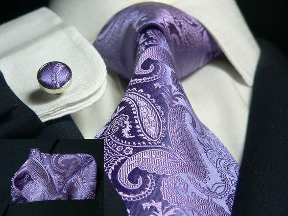Purple Paisley Necktie Set JPM112