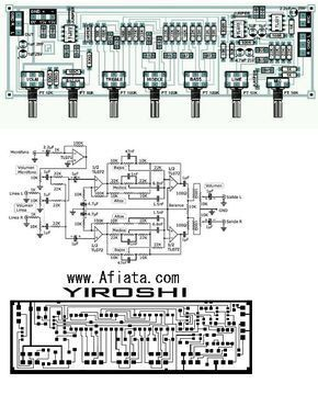 Audio Tone Control Layout And Circuit Diagram By Yiroshi Electronics Circuit Circuit Diagram Audio Amplifier