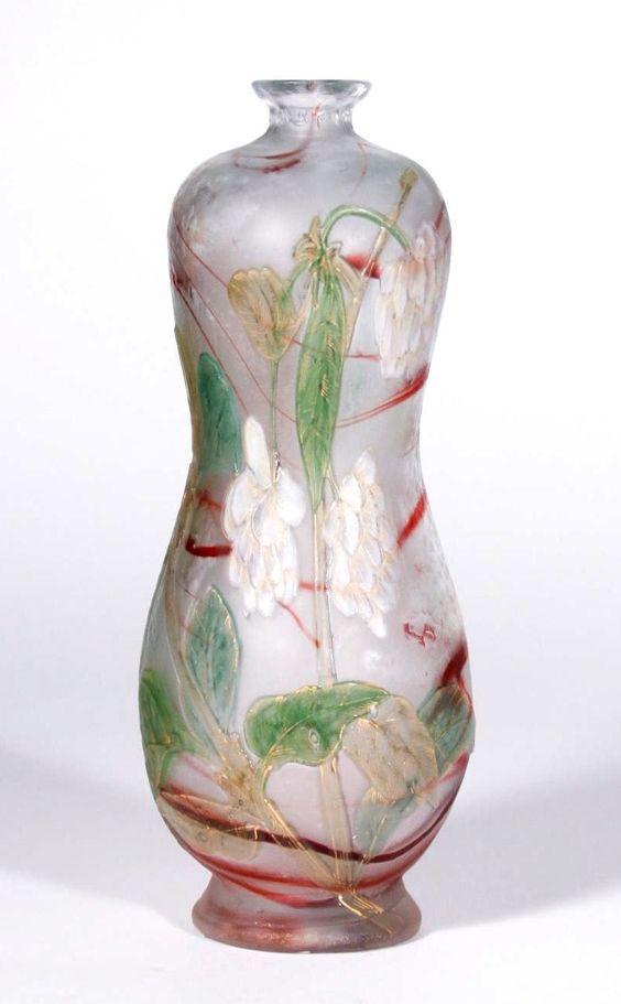Burgun Schverer & Cie  Decorated Vase with White Flowers