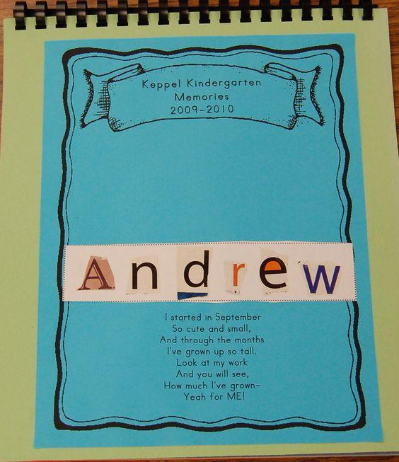 Kindergarten Poetry Book Cover ~ Memory books preschool book and kindergarten
