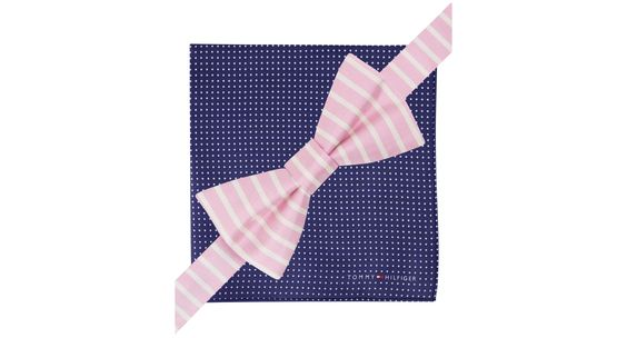 Tommy Hilfiger Vertical-Stripe Pre-Tied Bow Tie & Dot Pocket Square Set
