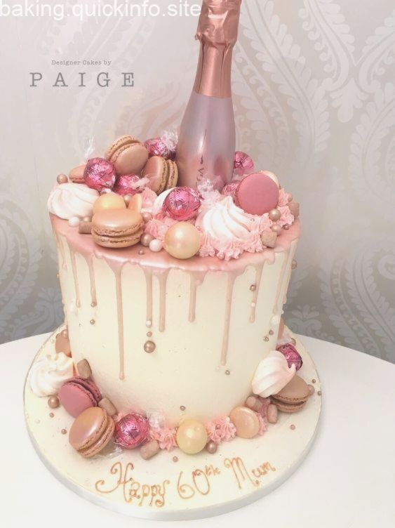 Rose Gold Prosecco Drip Cake Buttercream Birthday Cake 21st