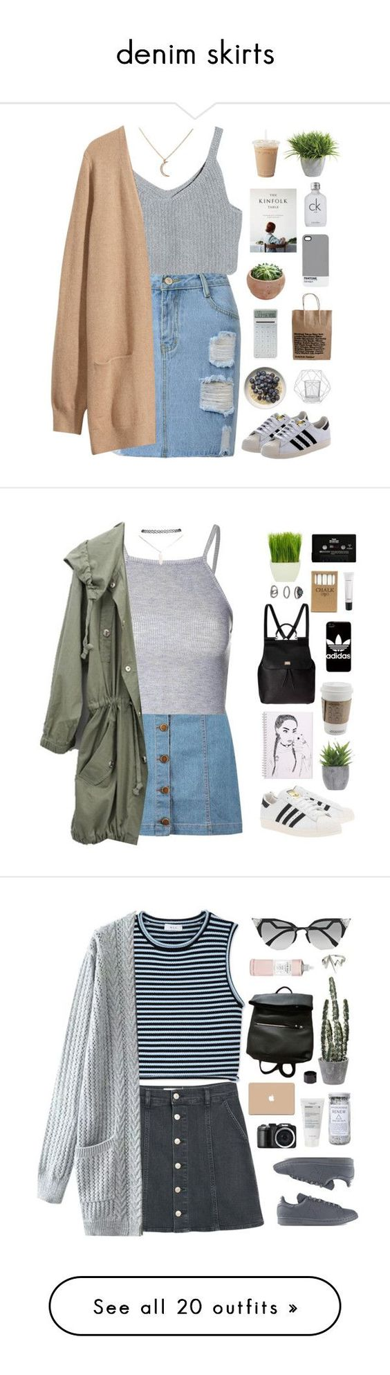 """""""denim skirts"""" by amy-lopez-cxxi ❤ liked on Polyvore featuring H&M, Ethan Allen, LEXON, Calvin Klein, Bloomingville, Pantone, adidas Originals, Boohoo, Glamorous and Wet Seal"""