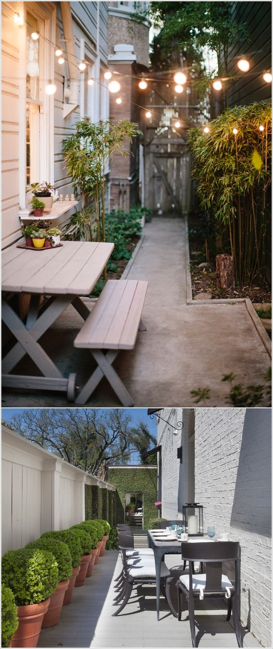 10 awesome ideas to design long and narrow outdoor spaces for Outdoor patio space ideas