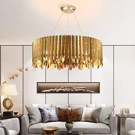 Post Modern Minimalist Stainless Steel Light Luxury Living Room Led Bedroom Lamp Lighting Geometric Crystal Cha In 2020 Gold Living Room Luxury Living Room Gold Living