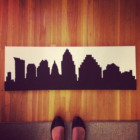 """Austin, TX Skyline Silhouette Painting, 12"""" x 36"""", Acrylic on Canvas, Custom Made, Various Cities, Colors, and Sizes Available by bluebrushstudios on Etsy https://www.etsy.com/listing/205369273/austin-tx-skyline-silhouette-painting-12"""