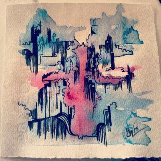 Bohemian Ink Studios. Waterfalls, zentangle, sketch, watercolour and pen