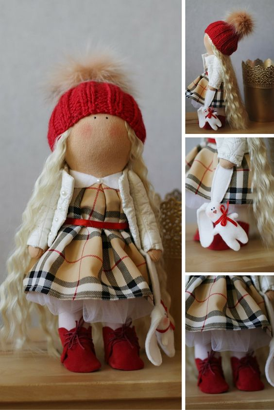 Vivid Tilda doll Art doll Holiday doll handmade blue white colors Soft doll…: