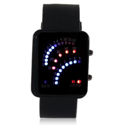 $5.59 (Buy here: http://appdeal.ru/b52m ) Exquisite Sector Design Led Wrist Watch with Colorful Light & Date - Black Watchband for just $5.59