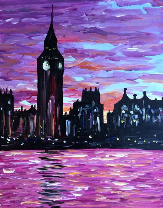 "Painting ""London Sunset"" March 5th Stone Creek Bar NYC! Enter code RASHEEDA & save 45% http://bit.ly/1T31jLX #PaintNiteNYC #Brunch #Cocktails #DIY"