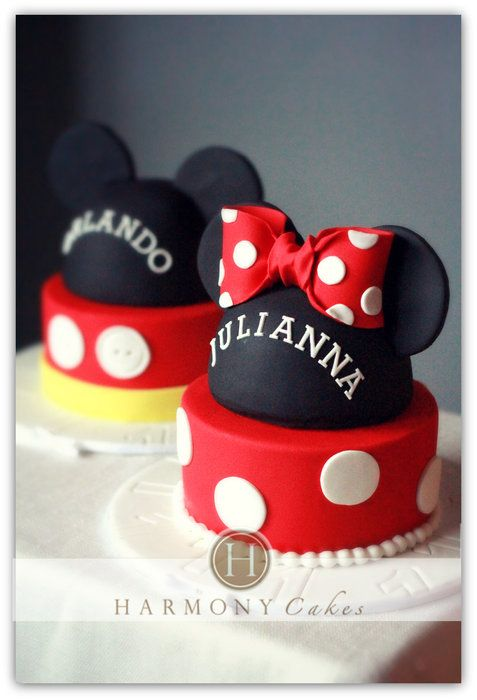 Mickey and Minnie Mouse cakes- we can make these with boxes and styrofoam for centerpieces