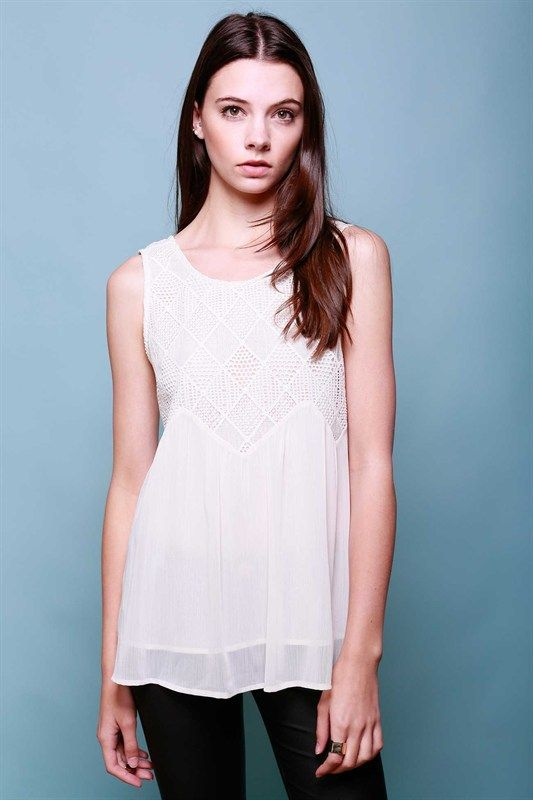 Diamond Blouse in Off-White   Lumiere   S, M, L $34   No charge for shipping! Sleeveless duo fabric baby doll tank top with crocheted top and pleated chiffon bottom.  Material: 100% polyester