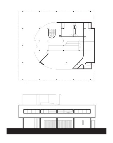 Elevation and ground floor plan of the Villa Savoye, Le ...