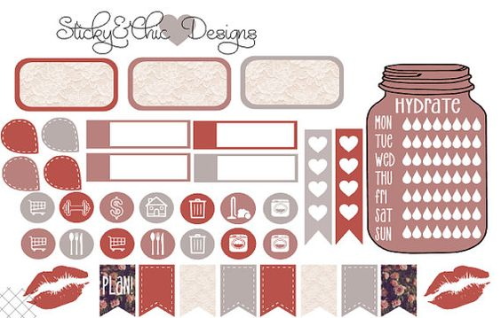 EC/THP Lace Planner Sticker Set by StickyNChicDesigns on Etsy