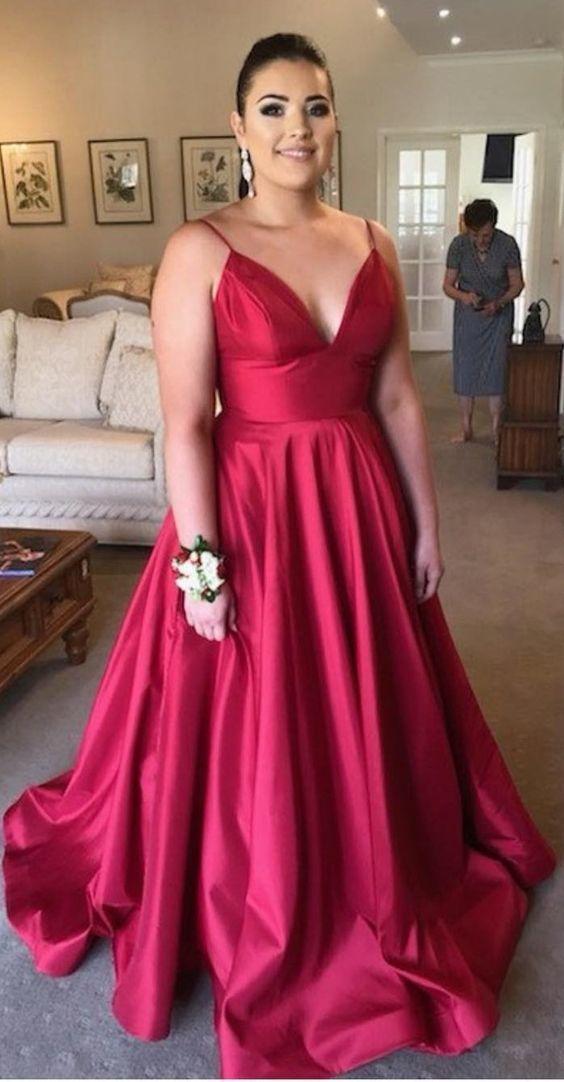 Simply Elegant V Neck Red Long Prom Dress in 2019   Plus ...