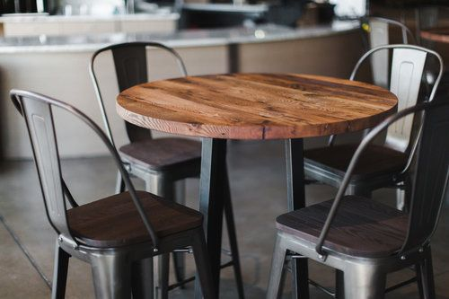 Round Industrial Reclaimed Wood Pub Table 36 Counter Height What We Make Pub Table And Chairs Furniture Barnwood Furniture