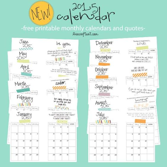 Printable Monthly Planner 2015: Free Printable Monthly Calendar