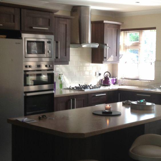 Small Kitchen Dining Ideas: Walnut Kitchen With White Subway Tile Backsplash