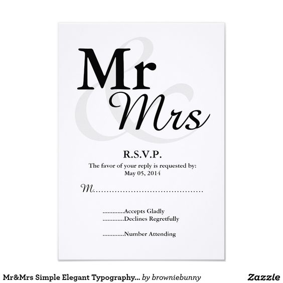 Mr&Mrs Simple Elegant Typography Wedding RSVP