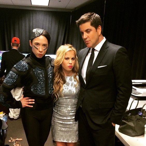 Pin for Later: Stars Share Their Super Bowl Spirit in Fun Social Snaps  Johnny Weir, Tara Lipinski, and Josh Elliott were all dressed up.