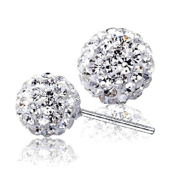 Diamond Crystal Stud Earrings (April Birthstone) in 925 Sterling Silver