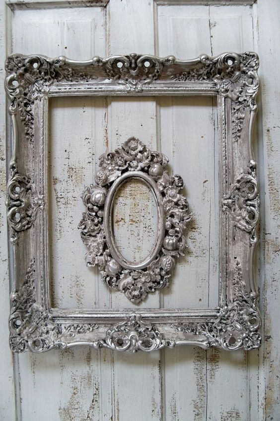 french farmhouse white putty gray frame set by
