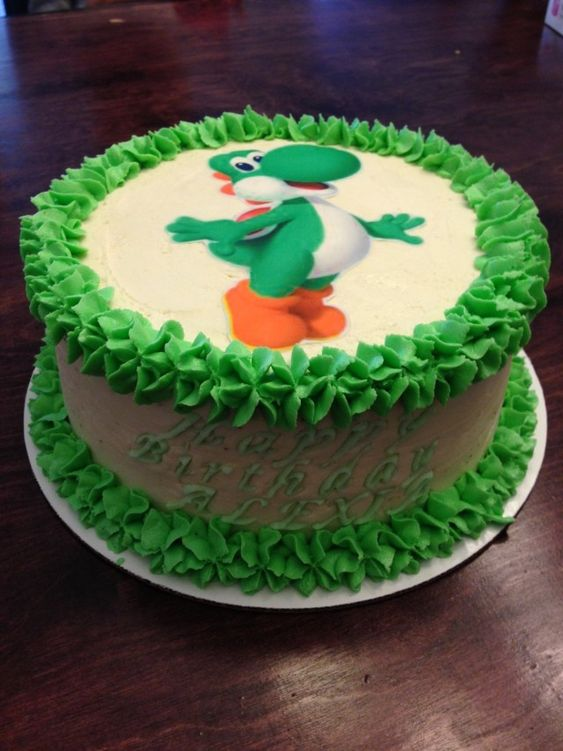 Yoshi cake for little brother Birthday ideas Pinterest ...